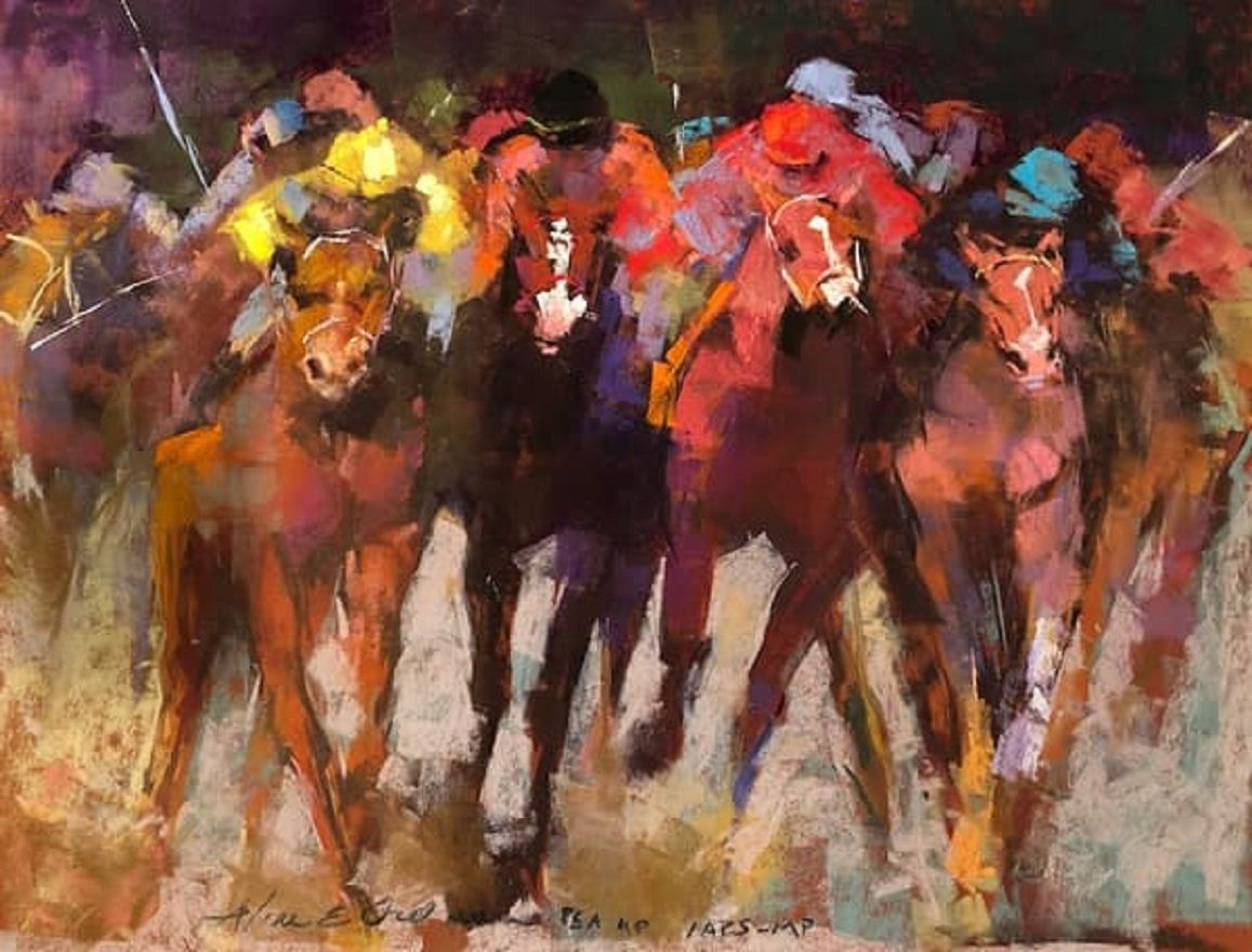 oil painting finish line by aline ordman