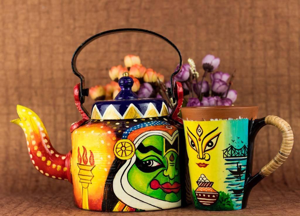 terracotta handicraft kettle mug by rareplanet