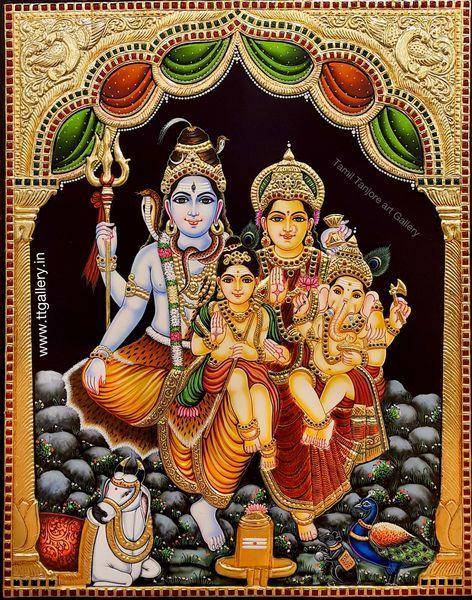 tanjore painting shiva parvati by ramanujam