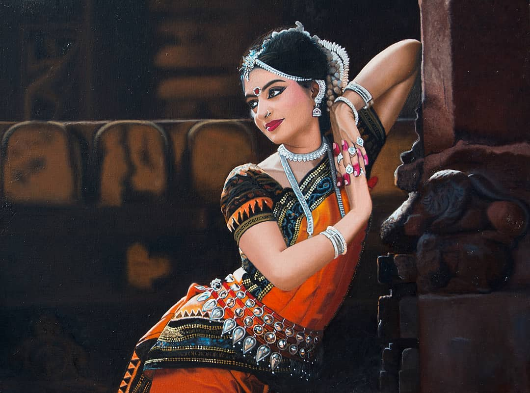 beautiful painting indian woman by vikas joshi