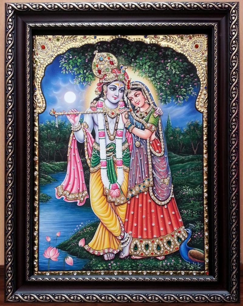tanjore painting krishna radha by ramanujam