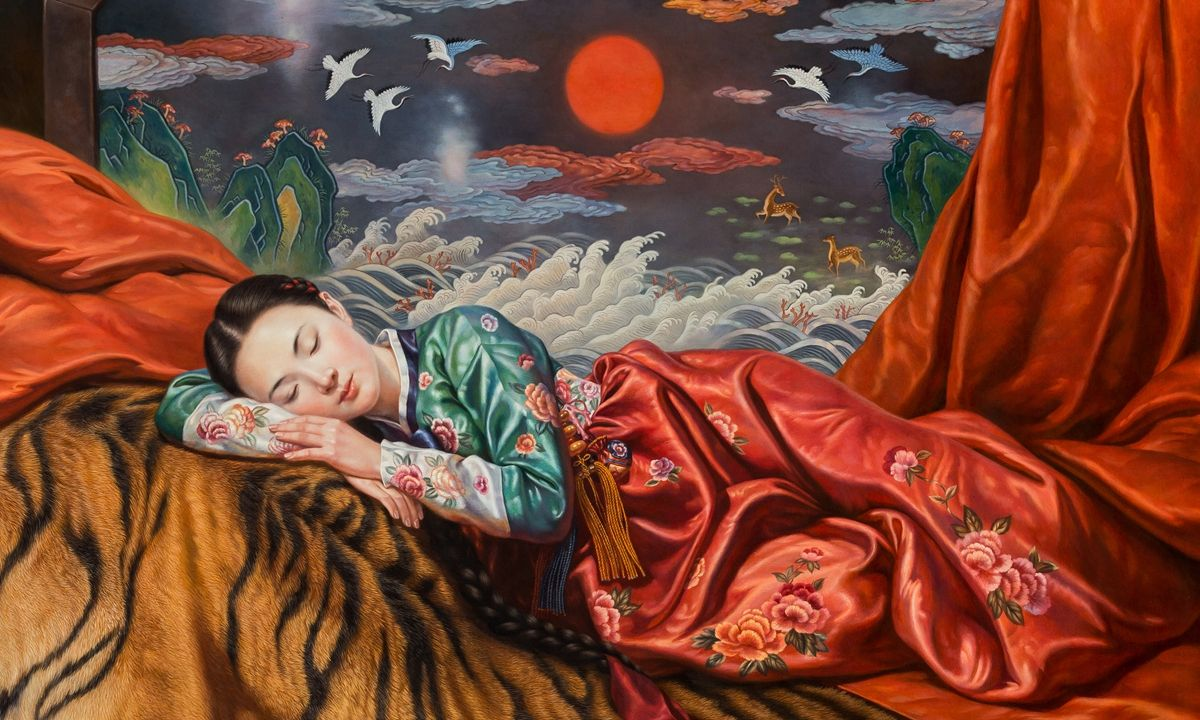 oil painting north korean sleeping beauty by choi yu jun