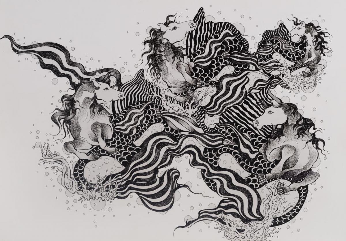 sea horses drawing by vigneshraj