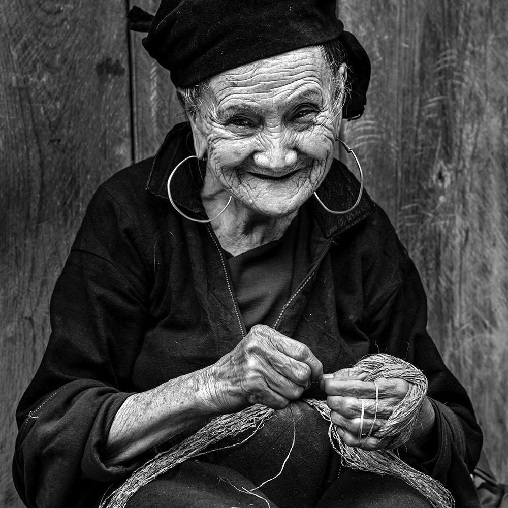 black white photography grandma