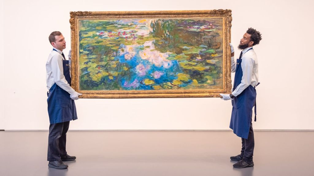 abstract painting water lilies by claude monet
