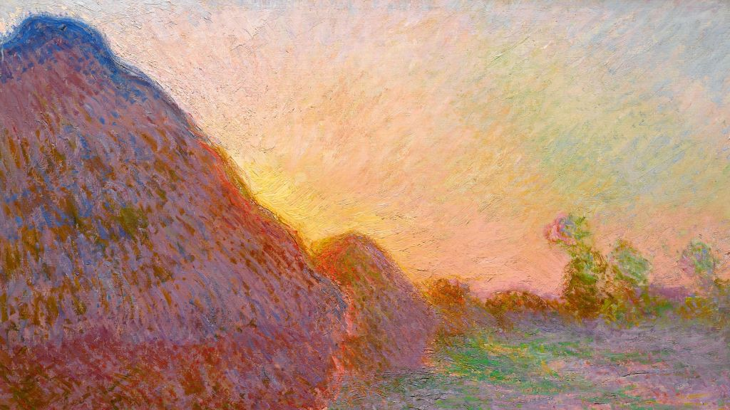 abstract painting haystacks series by claude monet