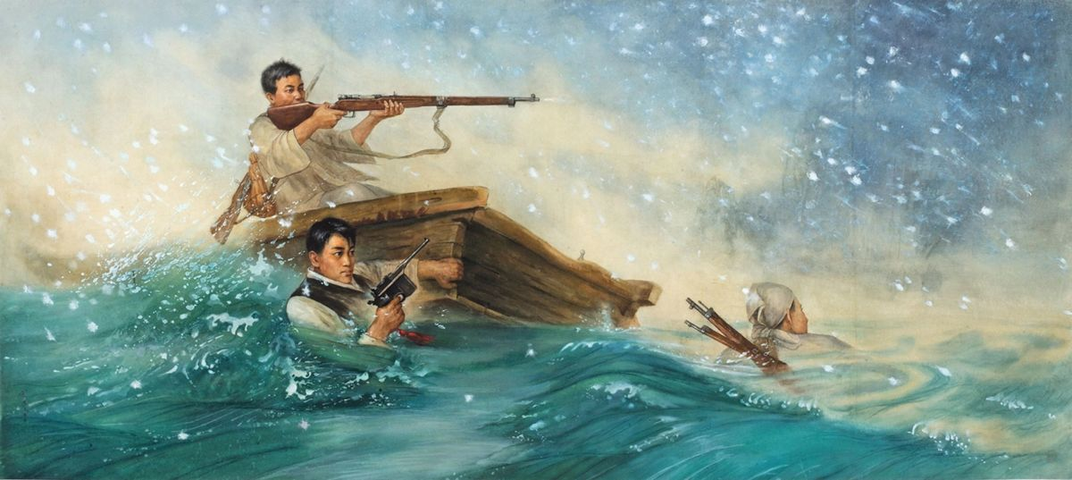 north korean oil painting after securing arms by jong man