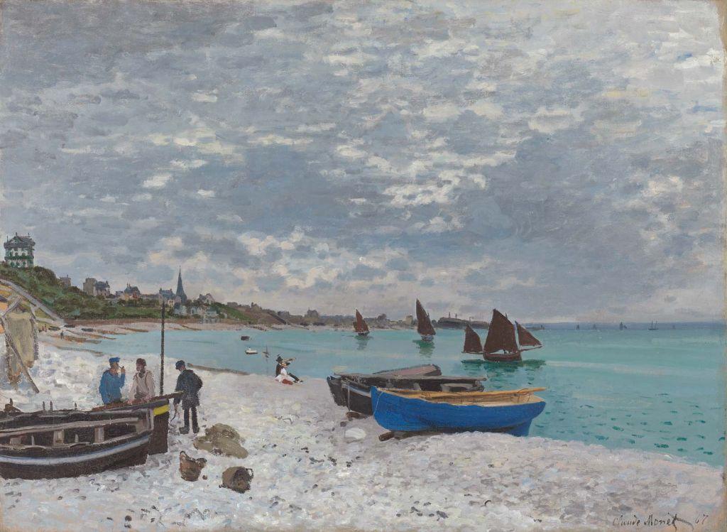 oil painting beach sainte adresse by claude monet