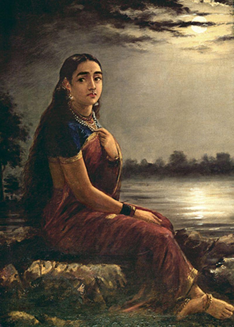 painting lady moonlight by raja ravi varma