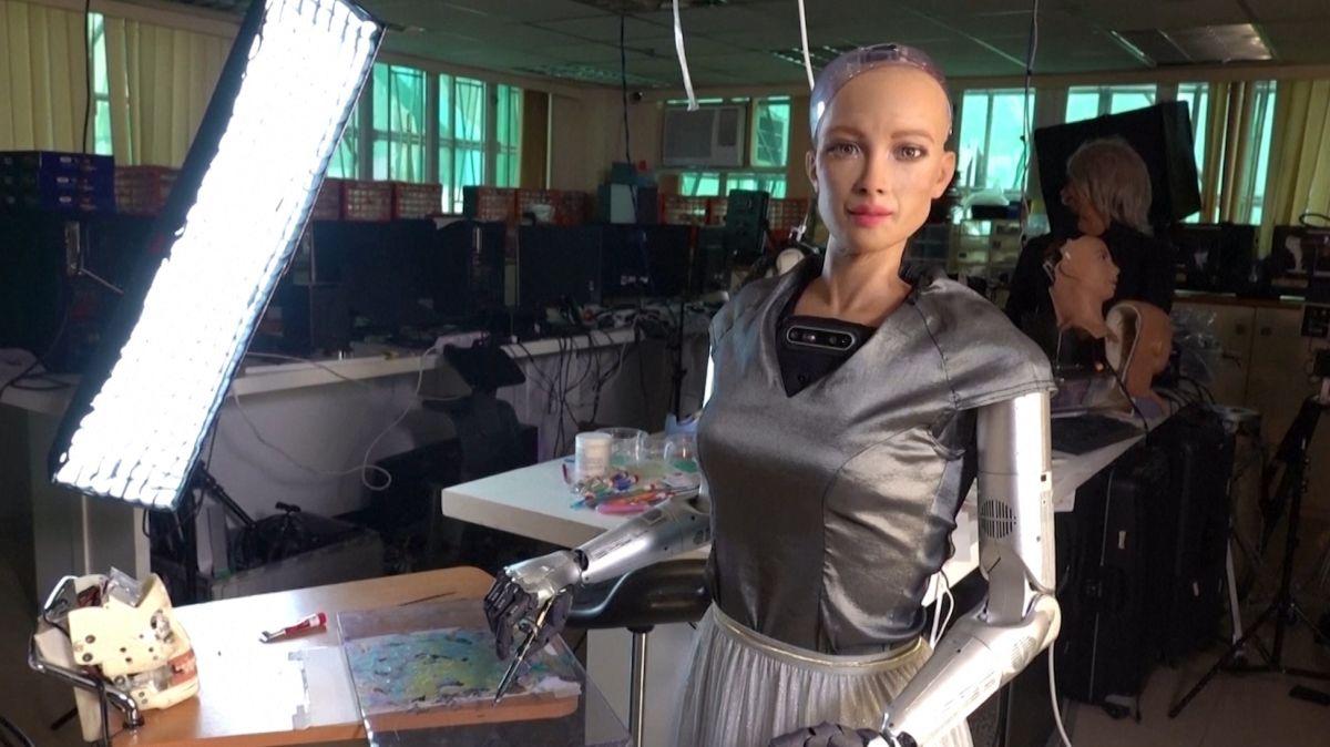 sophia robot nft self portrait painting