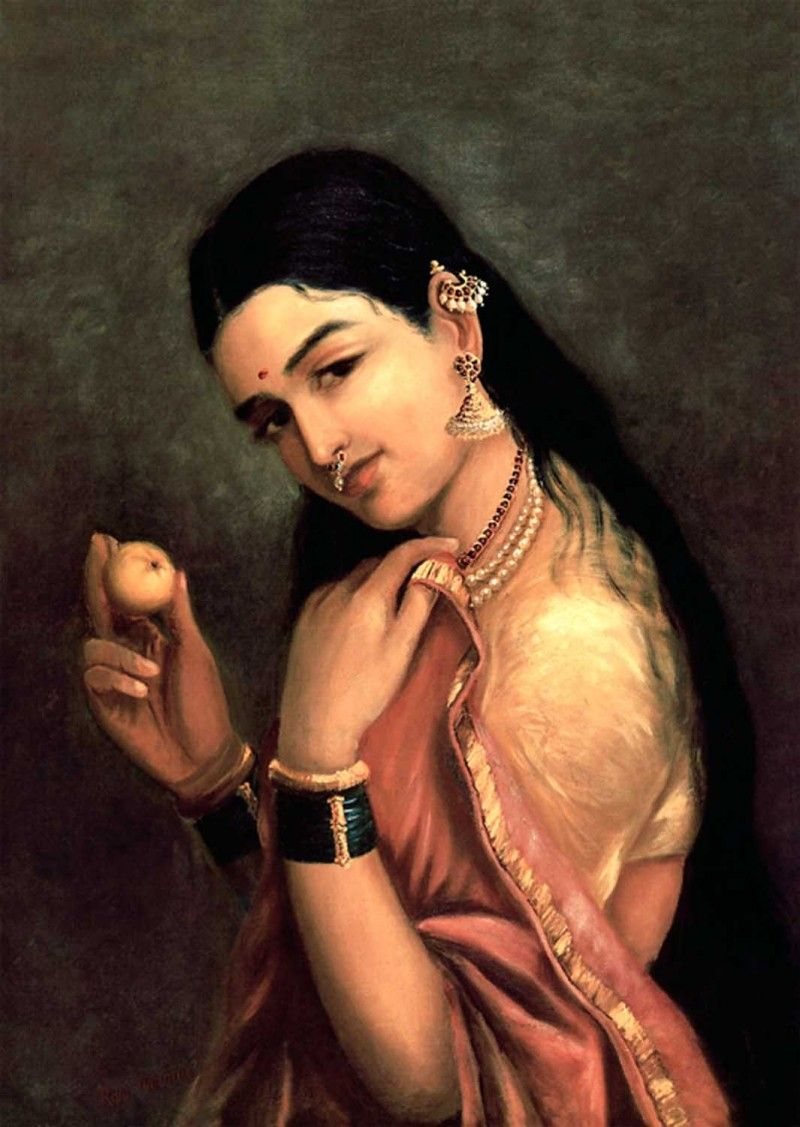 lady lemon painting by artist raja ravi varma