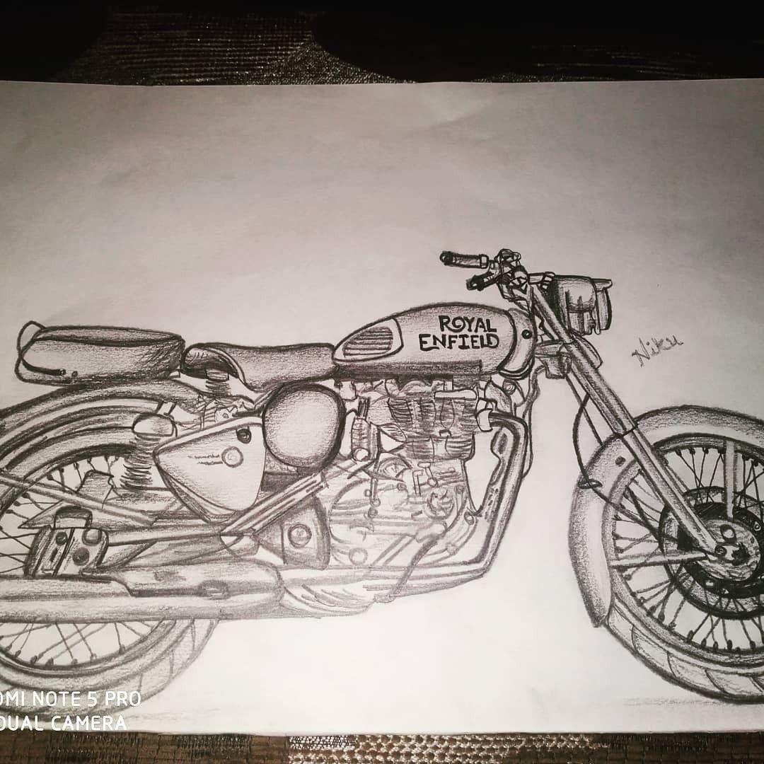 1 royal enfield pencil drawing by niku