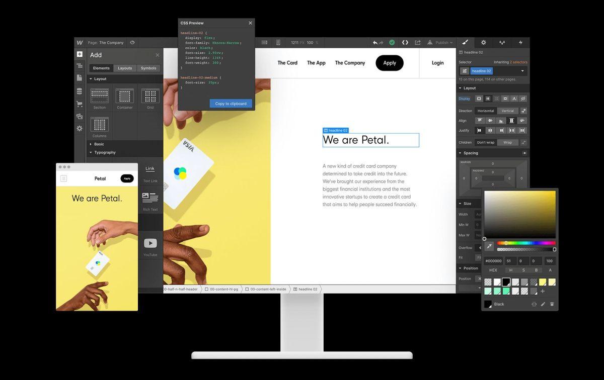 2 top web design software webflow